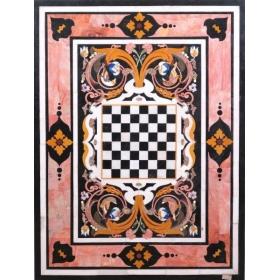 Tablero de mesa con juego del ajedrez y motivos ornamentales, en mosaico de incrustaciones de piedras duras semipreciosas