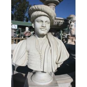 Busto negro de sudan realizado en marmol blanco