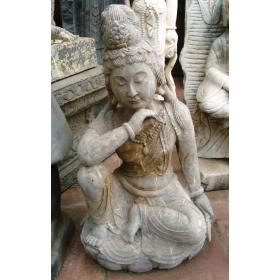 Escultura de buda en mármol emperador envejecido