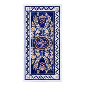 Tablero de mesa comedor para diez comensales en mosaico de lapis lazuli, piedras duras semipreciosas y mármoles
