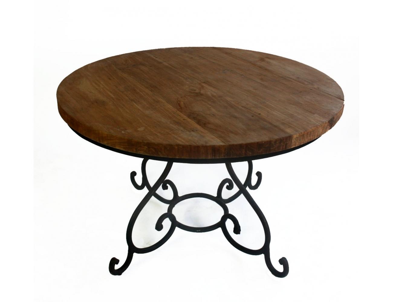 Mesa redonda con tablero de madera y pies de hierro for Mesas redondas de madera