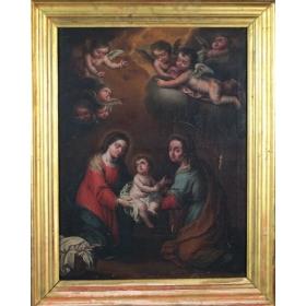 """Escuela española, S.XVIII """"La Virgen con el Niño y Santa Ana"""""""