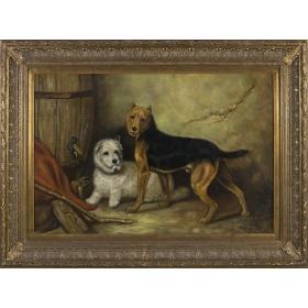 Representacion de dos perros, uno de ellos tumbado