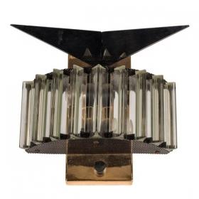 Aplique de latón dorado, patinado y cristal, años 80