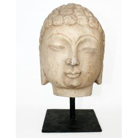 Escultura oriental cabeza de buda de piedra