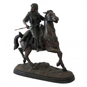 Figura arabe a caballo en bronce