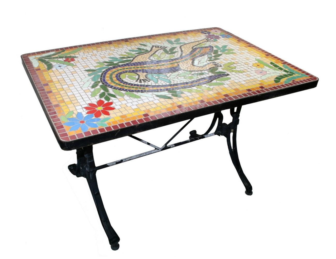 Mesa rectangular con mosaico de lagarto - CollectionWorld.net
