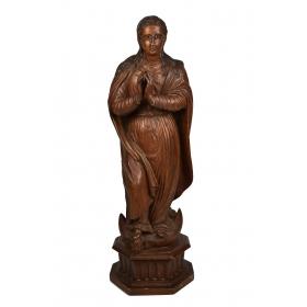 Virgen de madera tallada en su color, trabajo portugués del s.xvii - xviii