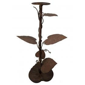 Soporte de hierro para macetas con decoración de hojas