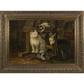 Escena familiar de cuatro gatos juguetones