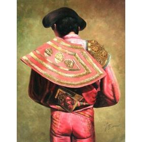 Torero pintado a mano sobre lienzo