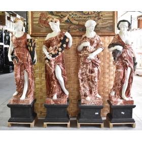 Set de cuatro estaciones realizadas en varios tipos de mármol sobre peana