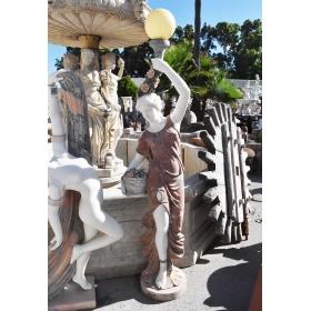 Escultura lamparero realizada en varios tipos de marmol