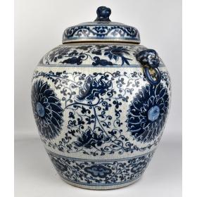 Tibor de porcelana china en azul cobalto
