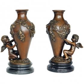 Pareja copas con angelitos de bronce con peana de mármol