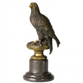 Aguila de bronce con peana de marmol