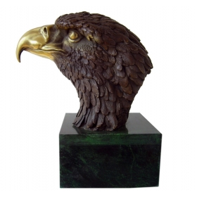 Cabez de aguila de bronce con peana de marmol