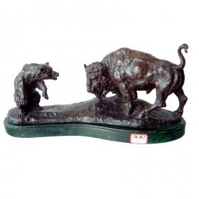 Toro y oso de bronce con peana de marmol