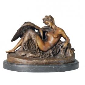Leda y el cisne de bronce con peana de mármol