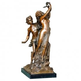 Rapto de dafne de bronce con peana de marmol