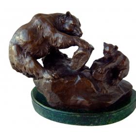 Osa y osito de bronce con peana de marmol