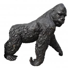 Escultura de gorila realizado en bronce