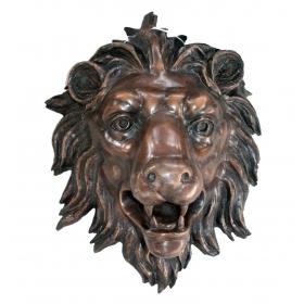 Mascarón fuente cabeza de león en bronce