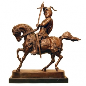 Jinete a caballo de bronce con peana de mármol