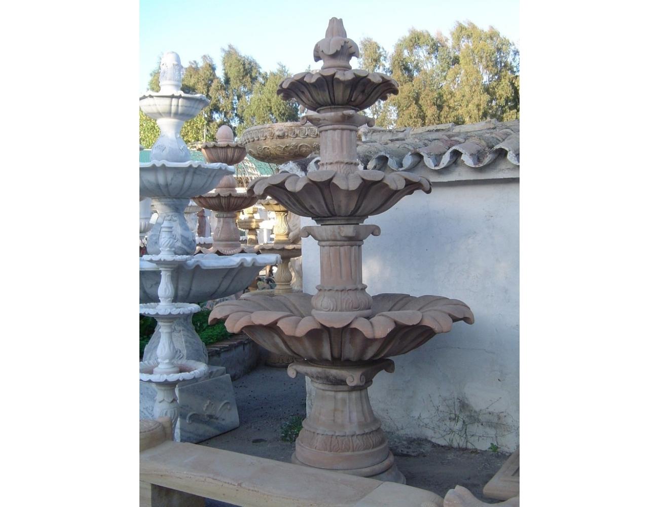 Fuente de piedra natural con tres platos Fuente de mrmol