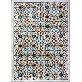 Tablero de mesa rectangular en mosaico de piedras duras semipreciosas y mármoles