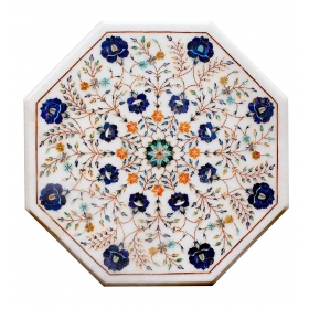Tablero de mesa octogonal de lapis lazuli, malaquita, madreperla y turquesas en incrustaciones de piedras duras