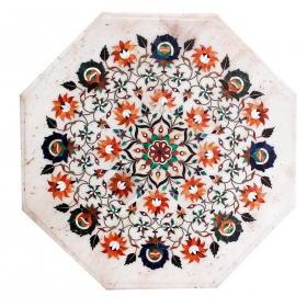 Tablero de mesa octogonal de lapis lazuli y turquesas con incrustaciones en piedras duras