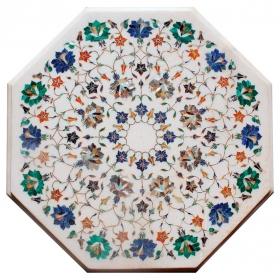 Tablero de mesa octogonal de lapis lazuli y malaquita con incrustaciones de piedras duras