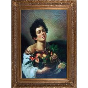 Retrato de hombre con cesto de frutas