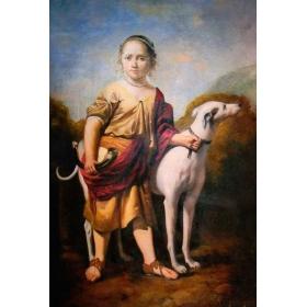 Retrato de niña junto a perro