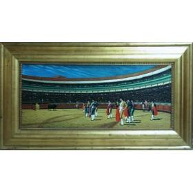 Plaza de toros con toreros oleo pintado a mano sobre tabla de 45cm de alto y 105cm de largo con marco c1008