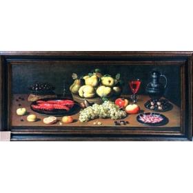 Oleo pintado a mano sobre tabla con marco c1001