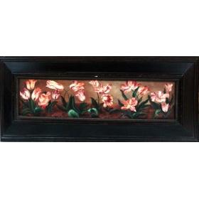 Oleo pintado a mano sobre lienzo de 26cm de alto y 103cm de largo con marco c1002