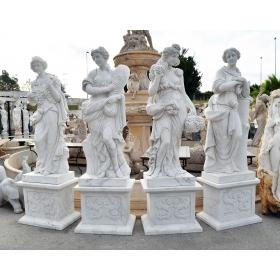 Conjunto de cuatro estaciones con peanas, tallado en mármol blanco de carrara.