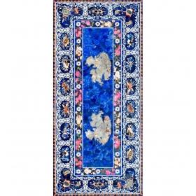 Tablero de mesa rectangular de lapis lazuli con incrustaciones de piedras duras