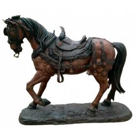 Gran escultura de caballo realizada a tamaño natural en bronce