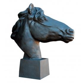 Busto cabeza de caballo de hierro de fundición