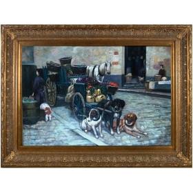 Mercadillo, perros y caballo representado en esta escena costumbrista