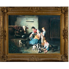 Oleo pintado a mano sobre lienzo con marco c1013