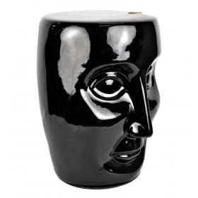 Banqueta de cerámica con forma de cabeza color negra