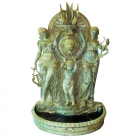 Fuente de pared en bronce mujeres niño y leon