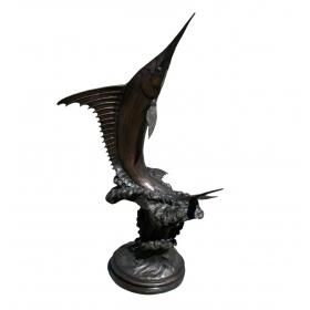 Escultura de pez espada realizado en bronce a la cera perdida
