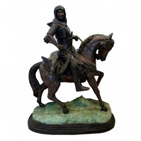 Jinete árabe a caballo realizado en bronce