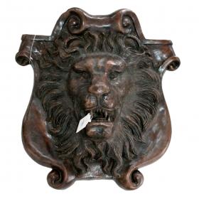 Mascarón cabeza de león fuente en bronce