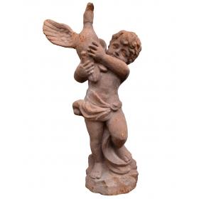 Escultura niño con pato de hierro de fundicion